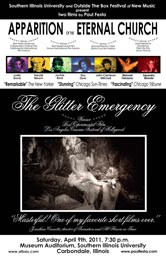 The Glitter Emergency and Apparition of the Eternal Church poster for Outside the Box Festival screening, Carbondale, IL